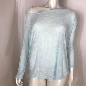 Sheer teal mint sweater off shoulder Sz. L.